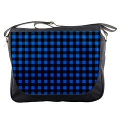 Lumberjack Fabric Pattern Blue Black Messenger Bags by EDDArt