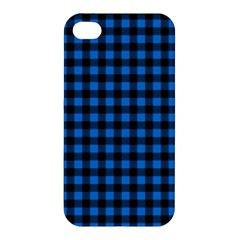 Lumberjack Fabric Pattern Blue Black Apple Iphone 4/4s Premium Hardshell Case by EDDArt