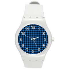 Lumberjack Fabric Pattern Blue Black Round Plastic Sport Watch (m) by EDDArt