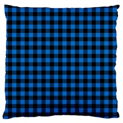 Lumberjack Fabric Pattern Blue Black Large Cushion Case (one Side) by EDDArt