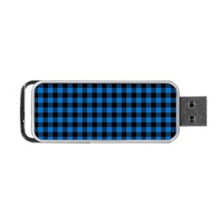 Lumberjack Fabric Pattern Blue Black Portable Usb Flash (one Side) by EDDArt
