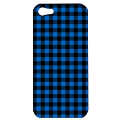 Lumberjack Fabric Pattern Blue Black Apple Iphone 5 Hardshell Case by EDDArt