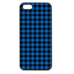 Lumberjack Fabric Pattern Blue Black Apple Iphone 5 Seamless Case (black) by EDDArt