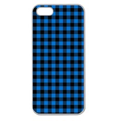 Lumberjack Fabric Pattern Blue Black Apple Seamless Iphone 5 Case (clear) by EDDArt