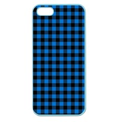 Lumberjack Fabric Pattern Blue Black Apple Seamless Iphone 5 Case (color) by EDDArt