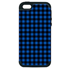 Lumberjack Fabric Pattern Blue Black Apple Iphone 5 Hardshell Case (pc+silicone) by EDDArt
