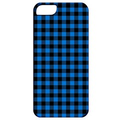 Lumberjack Fabric Pattern Blue Black Apple Iphone 5 Classic Hardshell Case by EDDArt