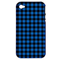 Lumberjack Fabric Pattern Blue Black Apple Iphone 4/4s Hardshell Case (pc+silicone) by EDDArt