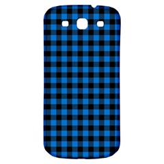 Lumberjack Fabric Pattern Blue Black Samsung Galaxy S3 S Iii Classic Hardshell Back Case by EDDArt
