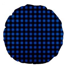 Lumberjack Fabric Pattern Blue Black Large 18  Premium Round Cushions by EDDArt