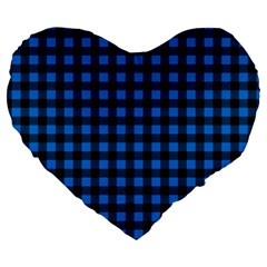 Lumberjack Fabric Pattern Blue Black Large 19  Premium Heart Shape Cushions by EDDArt