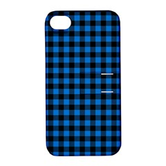 Lumberjack Fabric Pattern Blue Black Apple Iphone 4/4s Hardshell Case With Stand by EDDArt