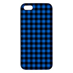 Lumberjack Fabric Pattern Blue Black Apple Iphone 5 Premium Hardshell Case by EDDArt