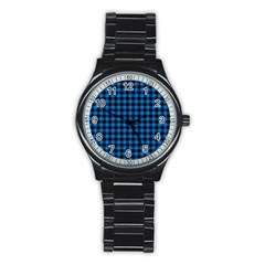 Lumberjack Fabric Pattern Blue Black Stainless Steel Round Watch by EDDArt
