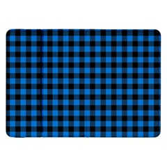 Lumberjack Fabric Pattern Blue Black Samsung Galaxy Tab 8 9  P7300 Flip Case by EDDArt