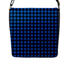 Lumberjack Fabric Pattern Blue Black Flap Messenger Bag (l)  by EDDArt