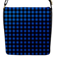 Lumberjack Fabric Pattern Blue Black Flap Messenger Bag (s) by EDDArt