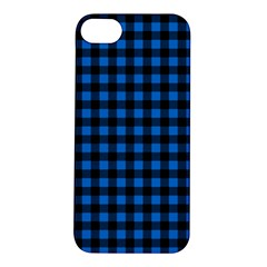 Lumberjack Fabric Pattern Blue Black Apple Iphone 5s/ Se Hardshell Case by EDDArt