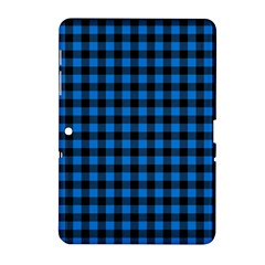 Lumberjack Fabric Pattern Blue Black Samsung Galaxy Tab 2 (10 1 ) P5100 Hardshell Case  by EDDArt
