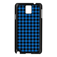 Lumberjack Fabric Pattern Blue Black Samsung Galaxy Note 3 N9005 Case (black) by EDDArt