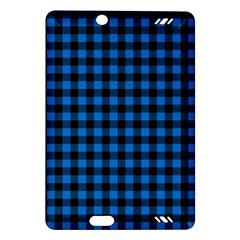Lumberjack Fabric Pattern Blue Black Amazon Kindle Fire Hd (2013) Hardshell Case by EDDArt