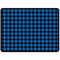 Lumberjack Fabric Pattern Blue Black Double Sided Fleece Blanket (large)  by EDDArt