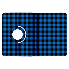 Lumberjack Fabric Pattern Blue Black Kindle Fire Hdx Flip 360 Case by EDDArt