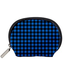 Lumberjack Fabric Pattern Blue Black Accessory Pouches (small)  by EDDArt
