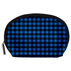 Lumberjack Fabric Pattern Blue Black Accessory Pouches (large)  by EDDArt