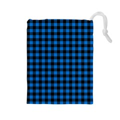 Lumberjack Fabric Pattern Blue Black Drawstring Pouches (large)  by EDDArt