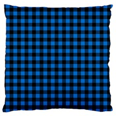 Lumberjack Fabric Pattern Blue Black Standard Flano Cushion Case (two Sides) by EDDArt