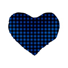 Lumberjack Fabric Pattern Blue Black Standard 16  Premium Flano Heart Shape Cushions by EDDArt