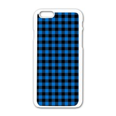 Lumberjack Fabric Pattern Blue Black Apple Iphone 6/6s White Enamel Case by EDDArt