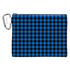 Lumberjack Fabric Pattern Blue Black Canvas Cosmetic Bag (xxl) by EDDArt