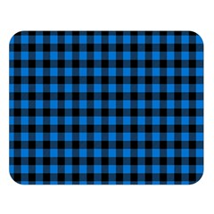 Lumberjack Fabric Pattern Blue Black Double Sided Flano Blanket (large)  by EDDArt