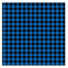 Lumberjack Fabric Pattern Blue Black Large Satin Scarf (square) by EDDArt