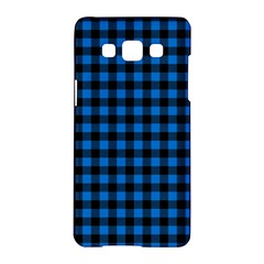 Lumberjack Fabric Pattern Blue Black Samsung Galaxy A5 Hardshell Case  by EDDArt