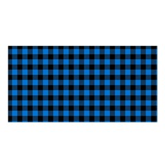 Lumberjack Fabric Pattern Blue Black Satin Shawl by EDDArt