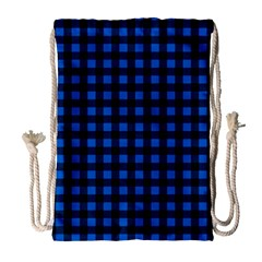 Lumberjack Fabric Pattern Blue Black Drawstring Bag (large) by EDDArt