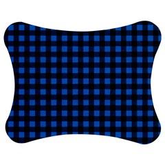 Lumberjack Fabric Pattern Blue Black Jigsaw Puzzle Photo Stand (bow) by EDDArt