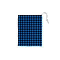 Lumberjack Fabric Pattern Blue Black Drawstring Pouches (xs)  by EDDArt