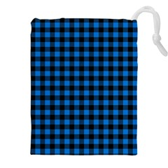 Lumberjack Fabric Pattern Blue Black Drawstring Pouches (xxl) by EDDArt