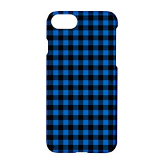 Lumberjack Fabric Pattern Blue Black Apple Iphone 7 Hardshell Case by EDDArt