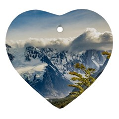 Snowy Andes Mountains, El Chalten Argentina Ornament (heart) by dflcprints