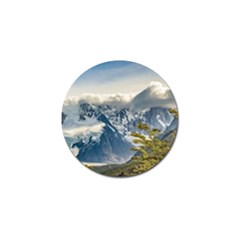Snowy Andes Mountains, El Chalten Argentina Golf Ball Marker by dflcprints