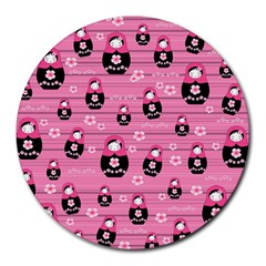 Matryoshka Doll Pattern Round Mousepads by Valentinaart