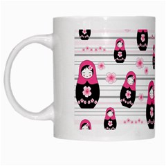 Matryoshka Doll Pattern White Mugs by Valentinaart