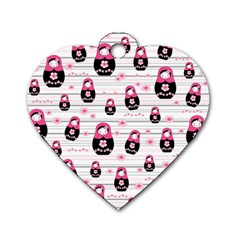 Matryoshka Doll Pattern Dog Tag Heart (one Side) by Valentinaart