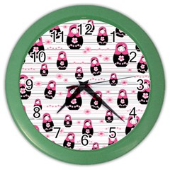 Matryoshka Doll Pattern Color Wall Clocks by Valentinaart