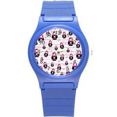 Matryoshka Doll Pattern Round Plastic Sport Watch (s) by Valentinaart